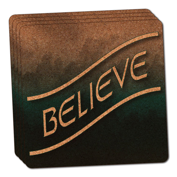 Believe Blue Grey Clouds Thin Cork Coaster Set of 4