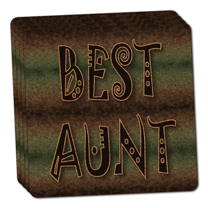 Best Aunt Admiration Respect Thin Cork Coaster Set of 4