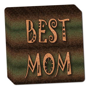 Best Mom Admiration Respect Thin Cork Coaster Set of 4