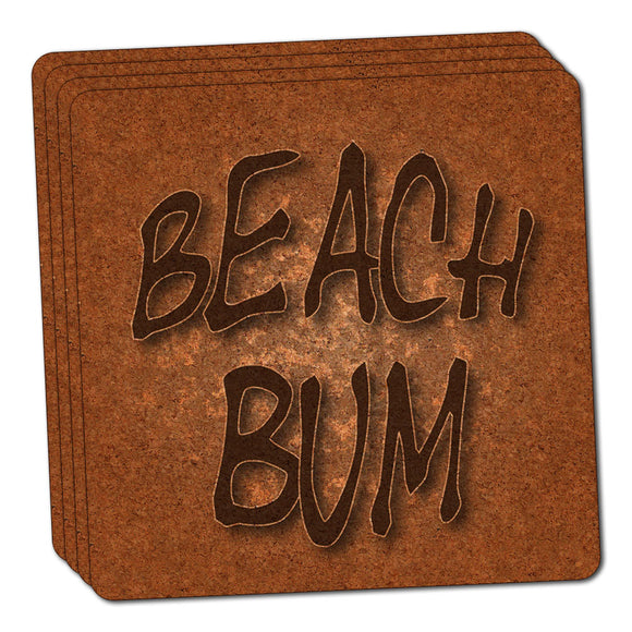 Beach Bum Surf and Sand Thin Cork Coaster Set of 4