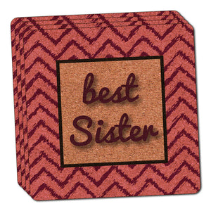 Best Sister on a Chevron Pattern Thin Cork Coaster Set of 4