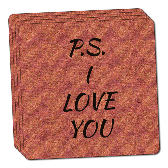 PS I Love You on Pink Hearts Pattern Thin Cork Coaster Set of 4