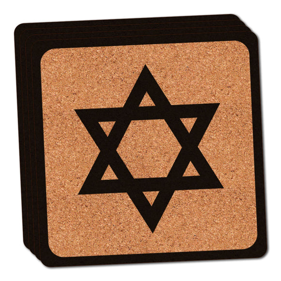 Star of David Thin Cork Coaster Set of 4