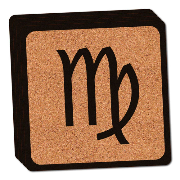 Zodiac Sign Virgo Thin Cork Coaster Set of 4