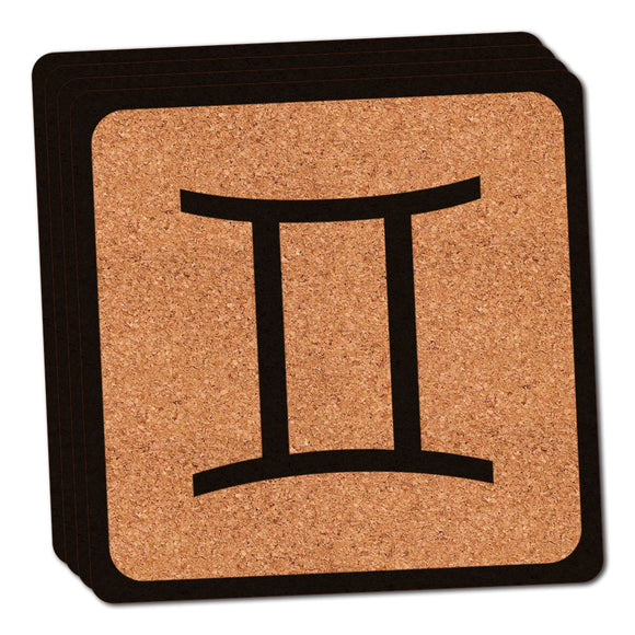 Zodiac Sign Gemini Thin Cork Coaster Set of 4