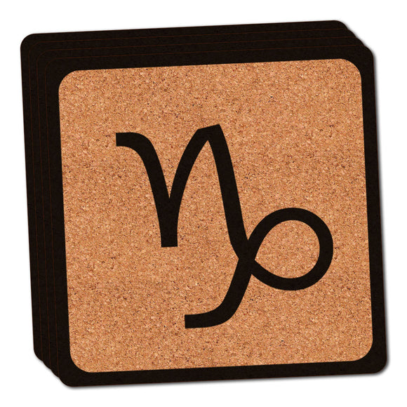 Zodiac Sign Capricorn Thin Cork Coaster Set of 4