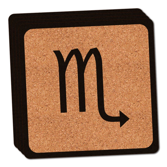 Zodiac Sign Scorpio Thin Cork Coaster Set of 4