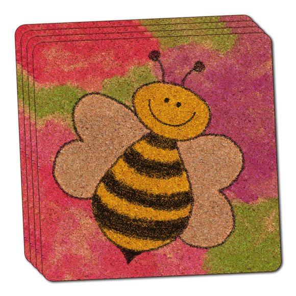 Busy As A Bee Watercolor Thin Cork Coaster Set of 4