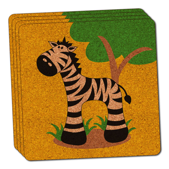Zebra And Tree Cute Thin Cork Coaster Set of 4