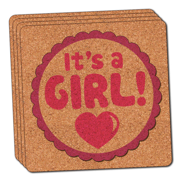 It's A Girl Baby Thin Cork Coaster Set of 4