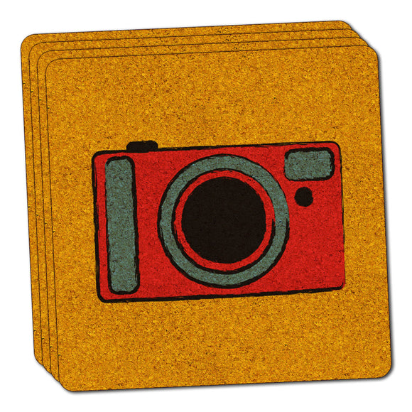Camera Travel Picture Thin Cork Coaster Set of 4