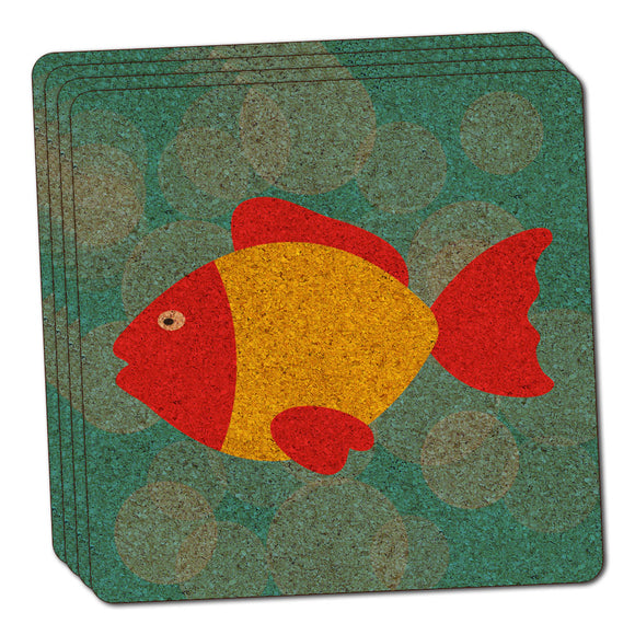 Tropical Fish Red Yellow Thin Cork Coaster Set of 4