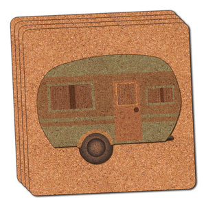 Camper Trailer RV Camping Thin Cork Coaster Set of 4