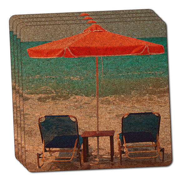 Beach Chair Ocean Vacation Thin Cork Coaster Set of 4