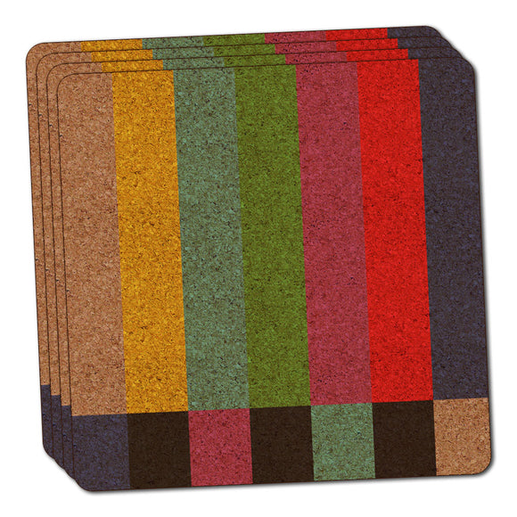 Test Television Color Bars Thin Cork Coaster Set of 4