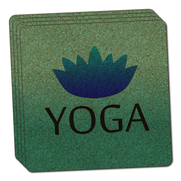 Yoga Lotus Flower Thin Cork Coaster Set of 4