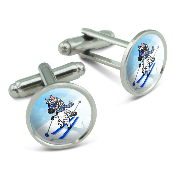 Zebra Skiing Men's Cufflinks Cuff Links Set