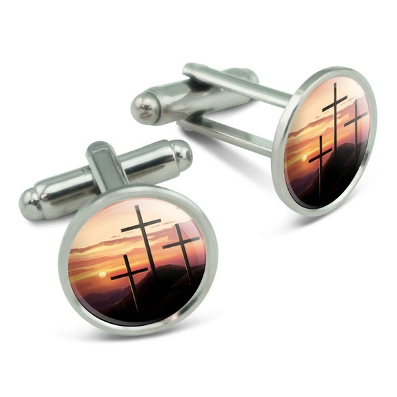 Three Crosses on Hill Men's Cufflinks Cuff Links Set
