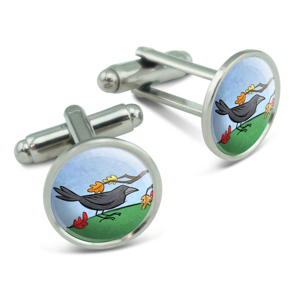 Crow in Autumn Men's Cufflinks Cuff Links Set