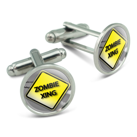 Zombie Xing Crossing Stylized Yellow Grey Caution Sign Cufflinks Cuff Links Set