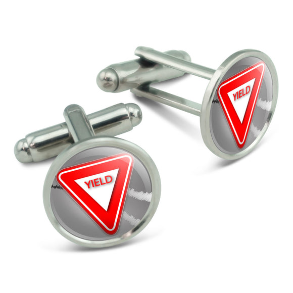 Yield Stylized Red Grey Triangular Sign Men's Cufflinks Cuff Links Set