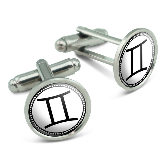 Zodiac Sign Gemini Men's Cufflinks Cuff Links Set