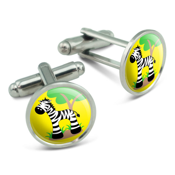 Zebra And Tree Cute Men's Cufflinks Cuff Links Set