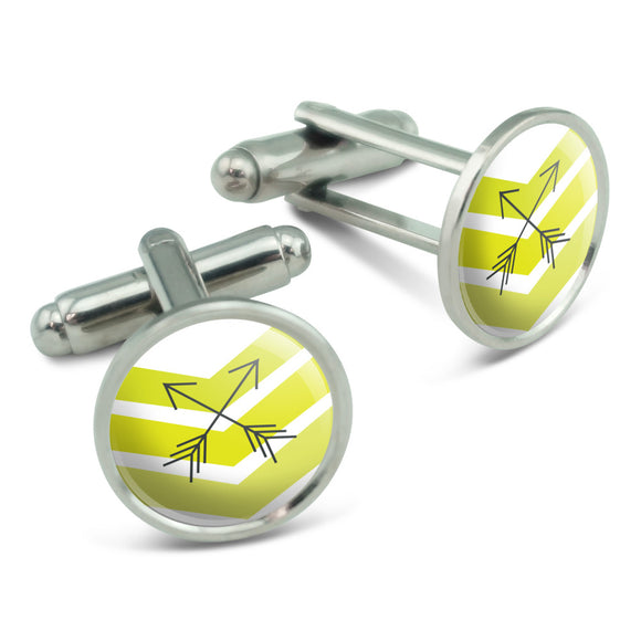 Yellow Chevrons & Arrows Men's Cufflinks Cuff Links Set