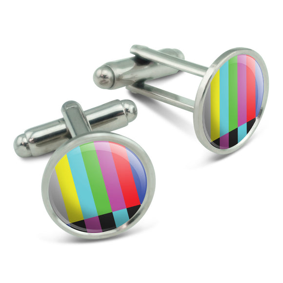 Test Television Color Bars Men's Cufflinks Cuff Links Set
