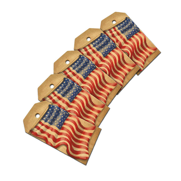 Vintage American Flag Wooden Wood Gift Tag Set
