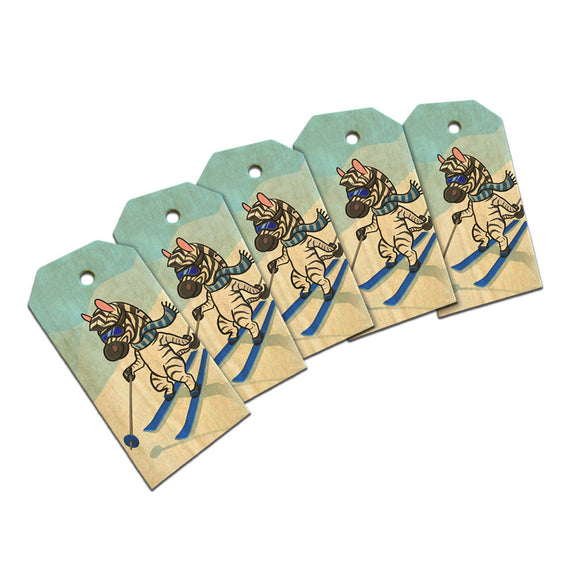 Zebra Skiing Wooden Wood Gift Tag Set