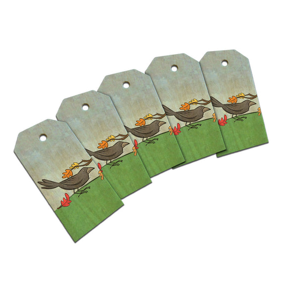 Crow in Autumn Wooden Wood Gift Tag Set