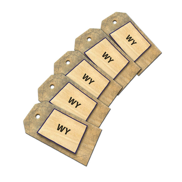 Wyoming WY State Outline on Faded Blue Wooden Wood Gift Tag Set