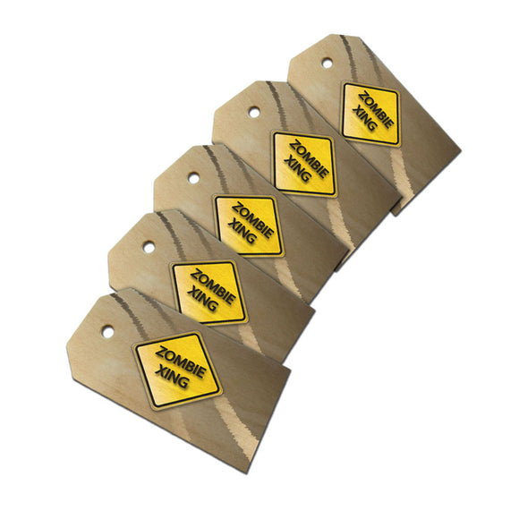 Zombie Xing Crossing Stylized Yellow Grey Caution Sign Wooden Wood Gift Tag Set