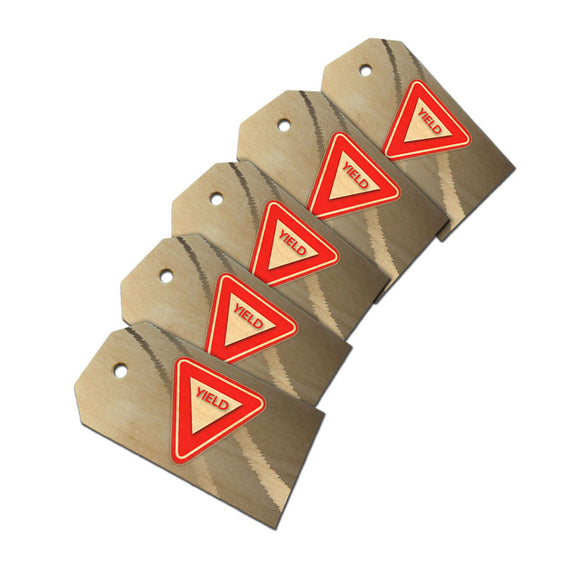 Yield Stylized Red Grey Triangular Sign Wooden Wood Gift Tag Set