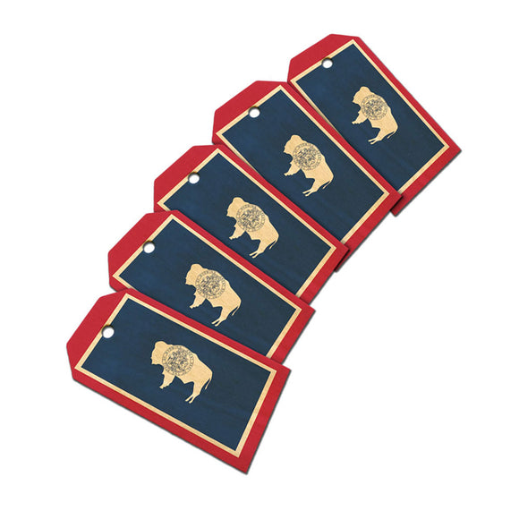 Wyoming State Flag Wooden Wood Gift Tag Set