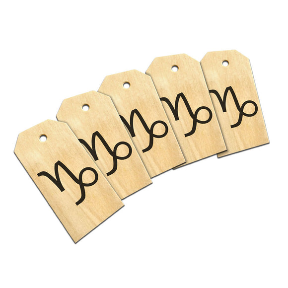 Zodiac Sign Capricorn Wooden Wood Gift Tag Set
