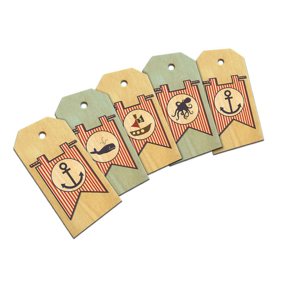 Nautical Themed Striped Flags Boy Birthday Gift Tags Wooden Wood Gift Tag Set