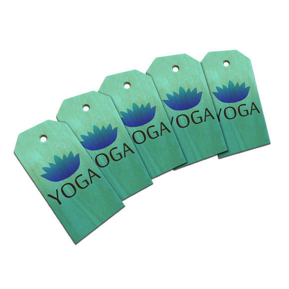 Yoga Lotus Flower Wooden Wood Gift Tag Set