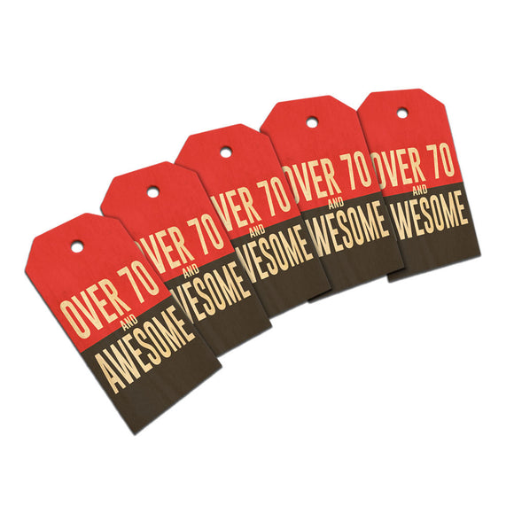 Over Seventy 70 and Awesome Birthday copy Wooden Wood Gift Tag Set