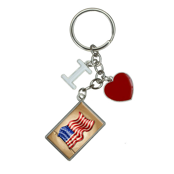 Vintage American Flag I Heart Love Keychain Key Ring