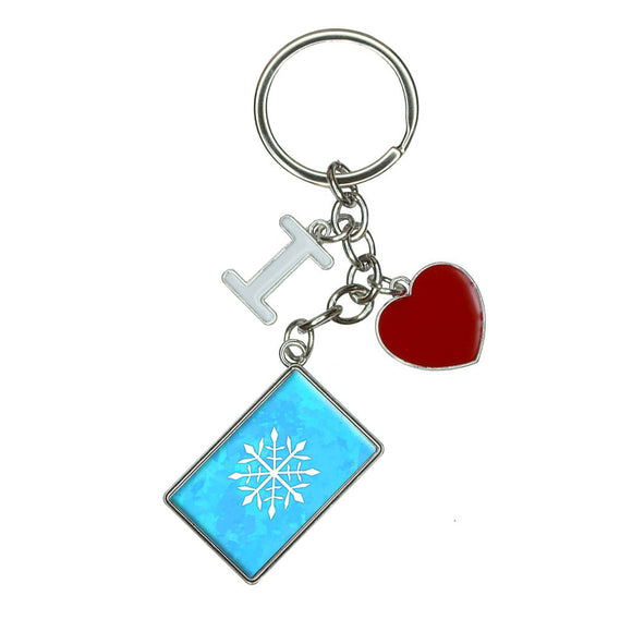 Snowflake I Heart Love Keychain Key Ring