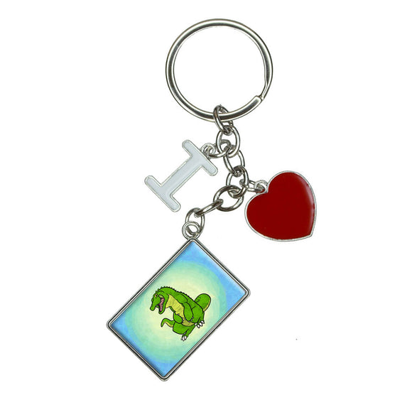 Happy Alligator I Heart Love Keychain Key Ring
