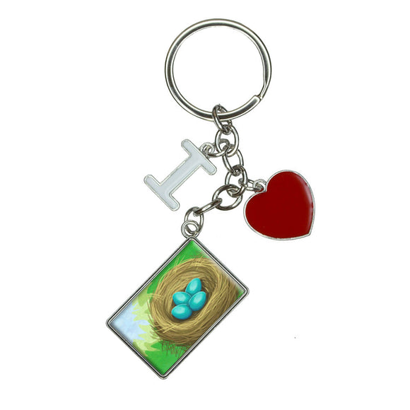 Robins Nest with Eggs I Heart Love Keychain Key Ring