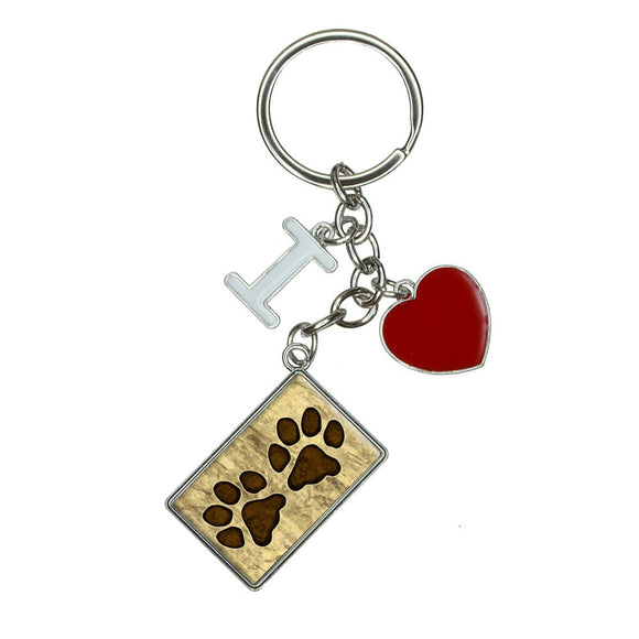 Grungy Pet Paw Prints I Heart Love Keychain Key Ring
