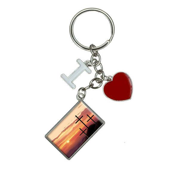 Three Crosses on Hill I Heart Love Keychain Key Ring
