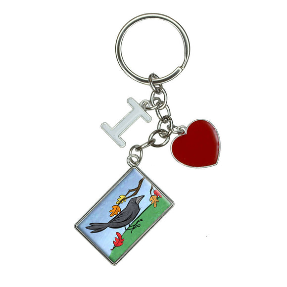 Crow in Autumn I Heart Love Keychain Key Ring
