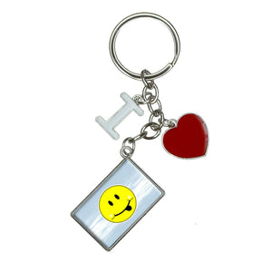 Happy Face Tongue Sticking Out I Heart Love Keychain Key Ring