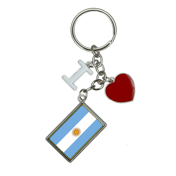Flag of Argentina I Heart Love Keychain Key Ring