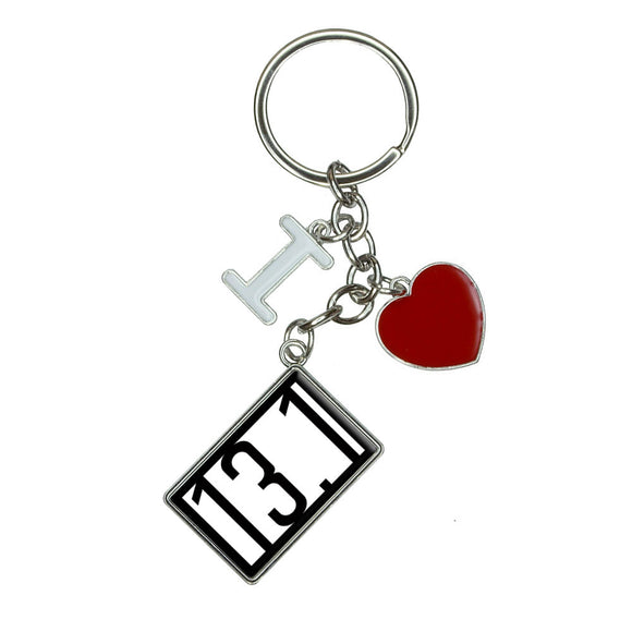 13.1 miles half marathon black I Heart Love Keychain Key Ring